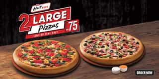 2 Large Pizzas for AED 75